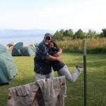 Mama Bear (Martha) and Papa Bear (Joe) hugging out at camp.